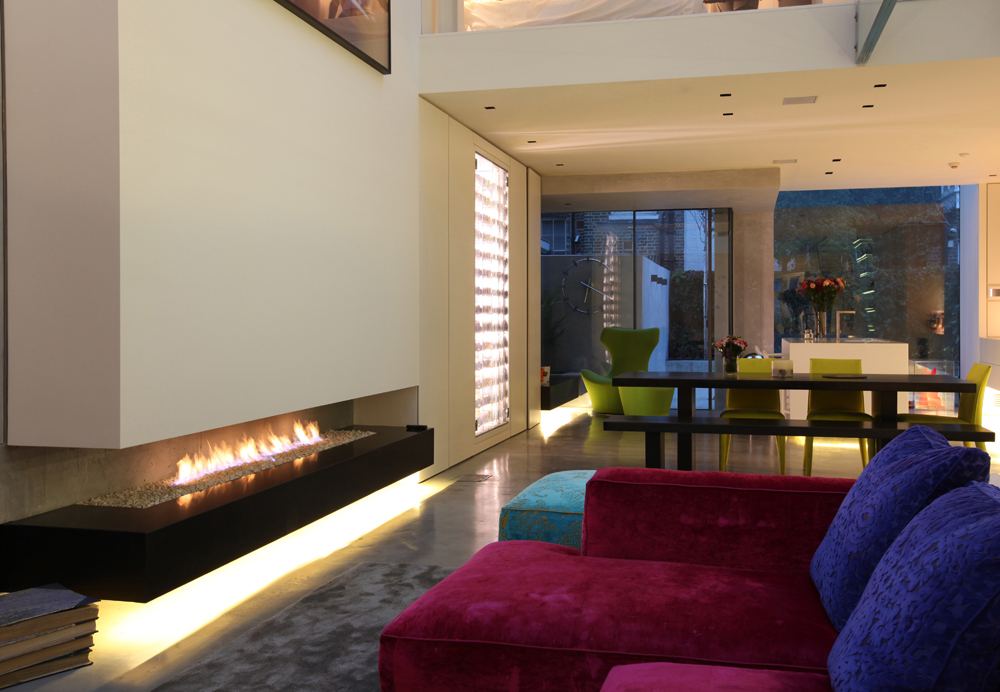 contemporary floating fireplace effect