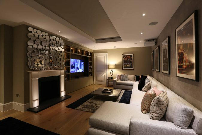 contemporary fireplace in tv room