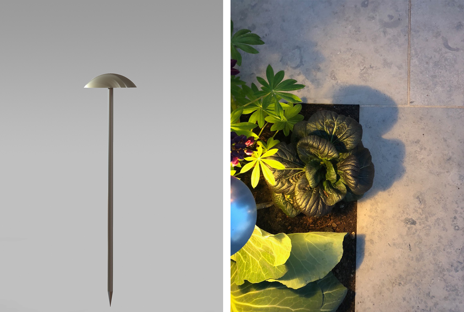 Portobello mushroom light insitu and product image Chelsea Flower show
