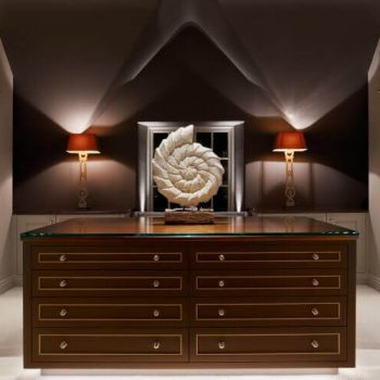 traditional dressing table with pitched ceiling and table lamps