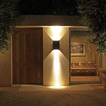 contemporary simple front door with lighting