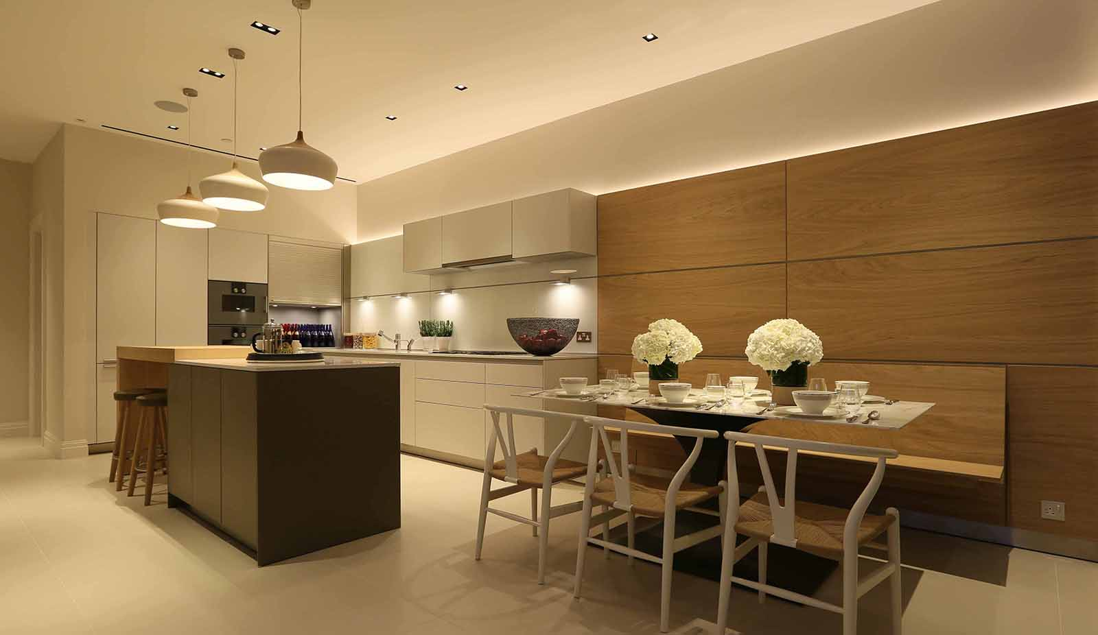 basement kitchen with great lighting