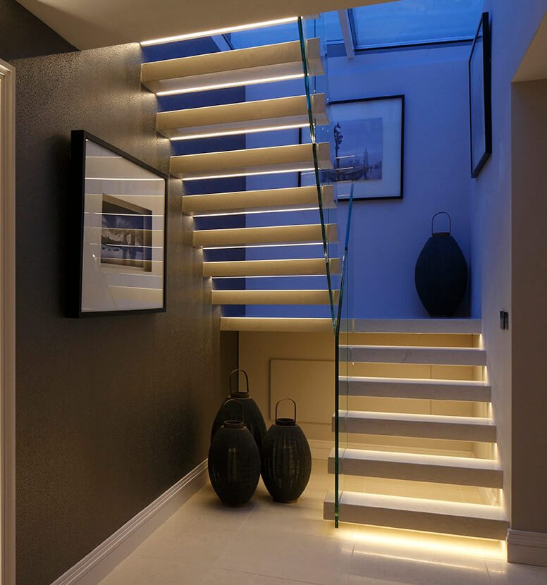 clever lighting integrated into contemporary staircase