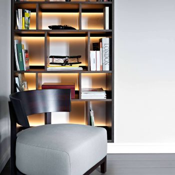 back lit contemporary shelving