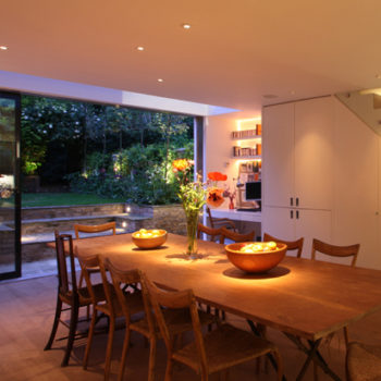 lighting outside the kitchen extends the feeling of space window