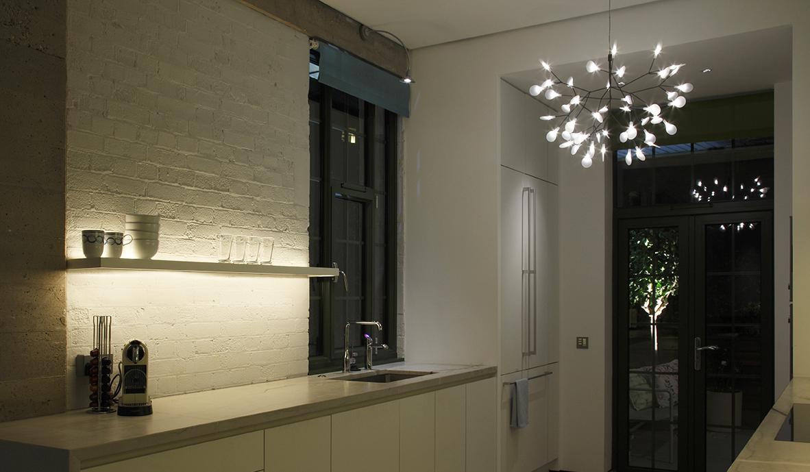 Apartment kitchen with stunning pendant
