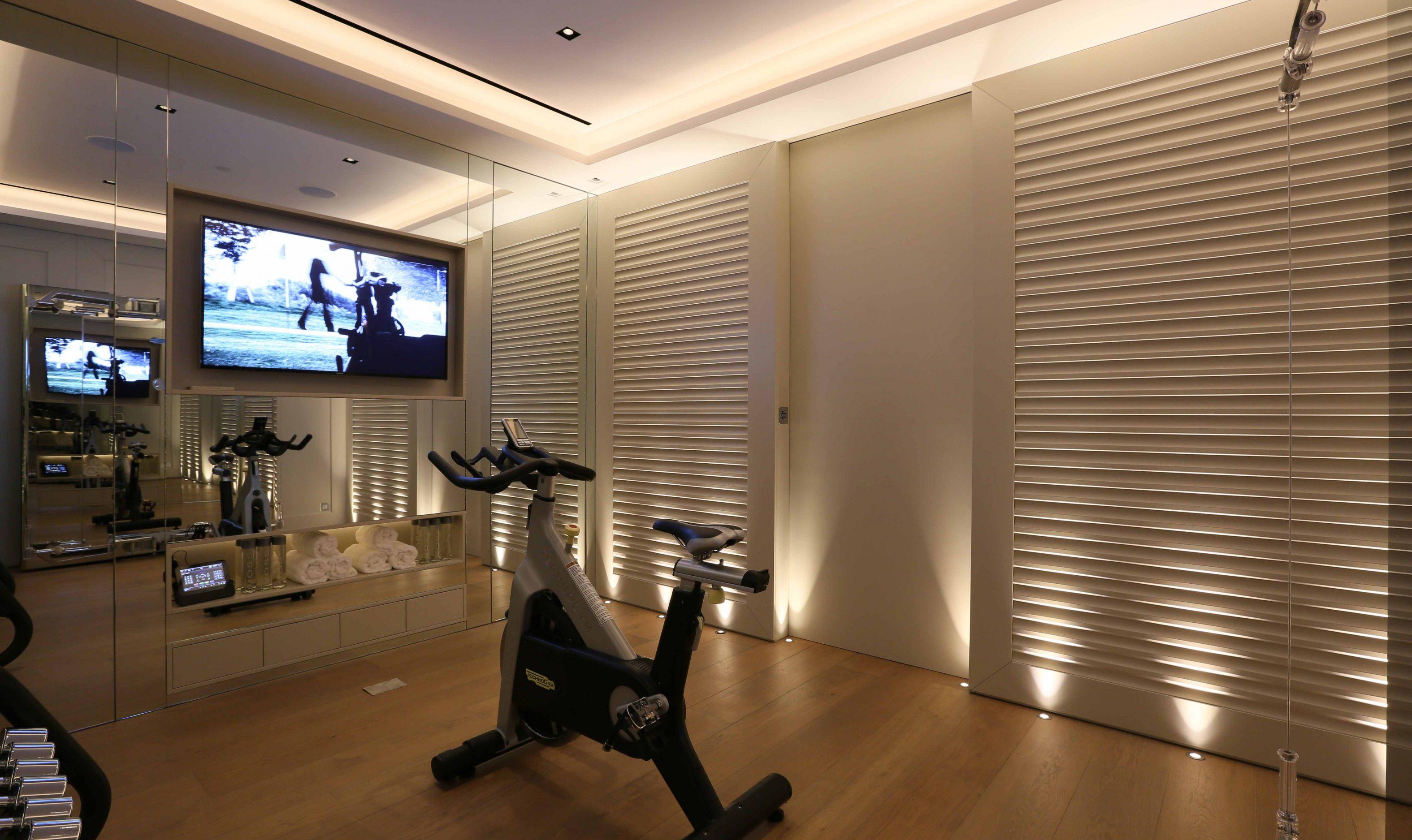 Basement home gym lighting