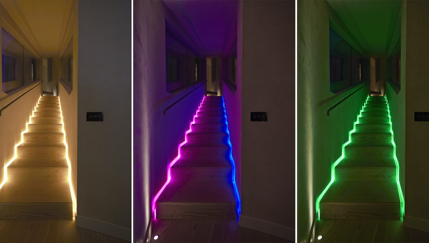 Colour changing stairs lighting