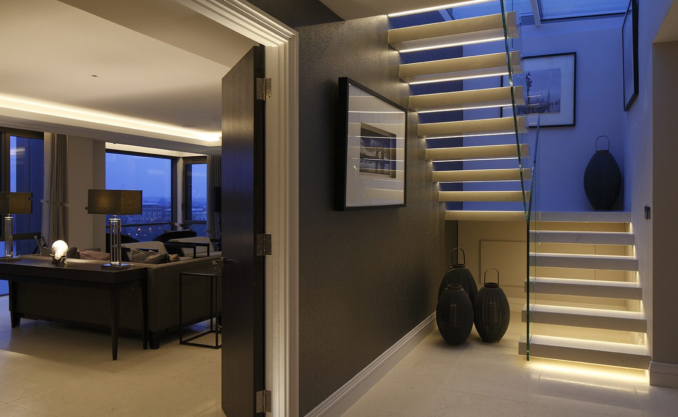 Contemporary corridor and stairs lighting