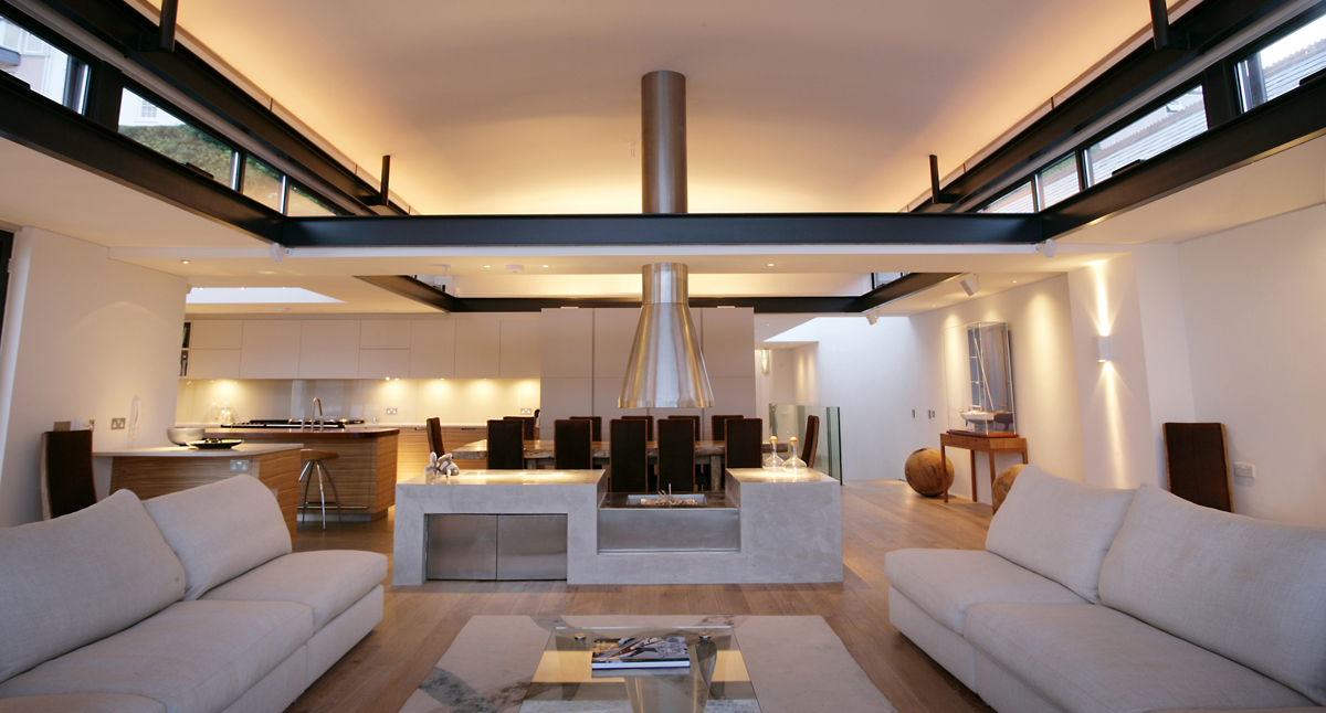 Contemporary open plan living lighting