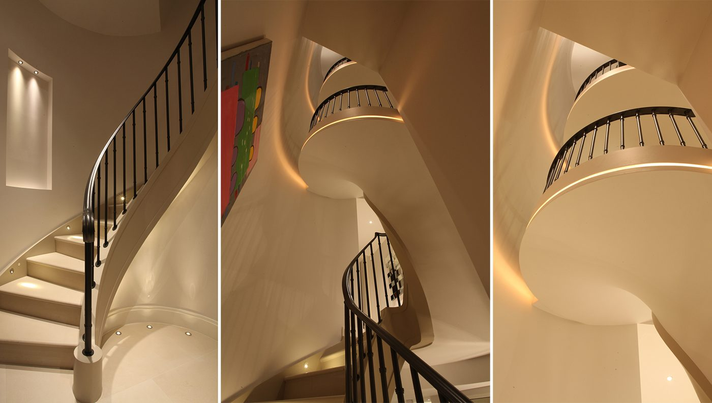 Curved Staircase Lighting