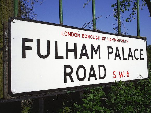 Fulham Palace road sign