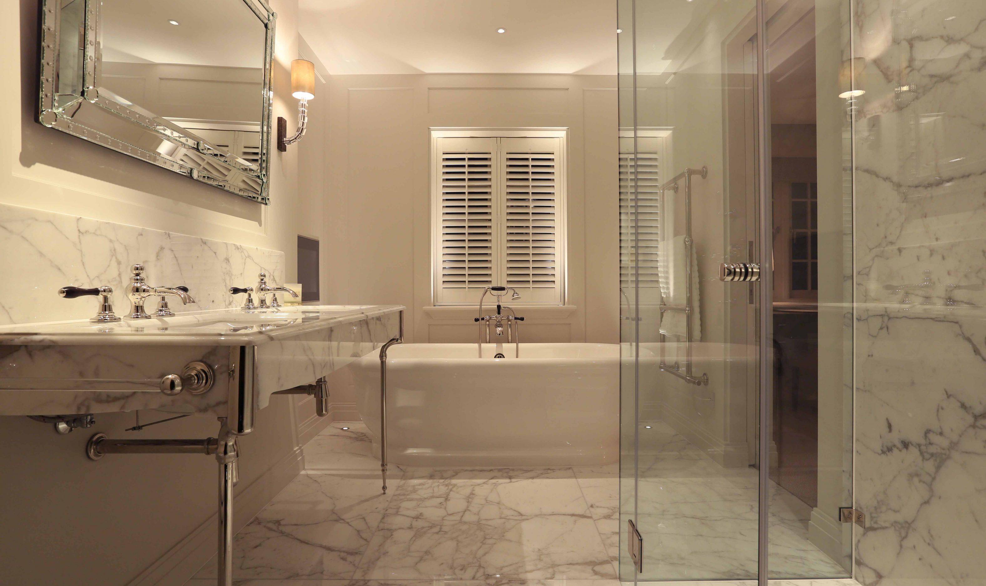 lighting for marble bathroom