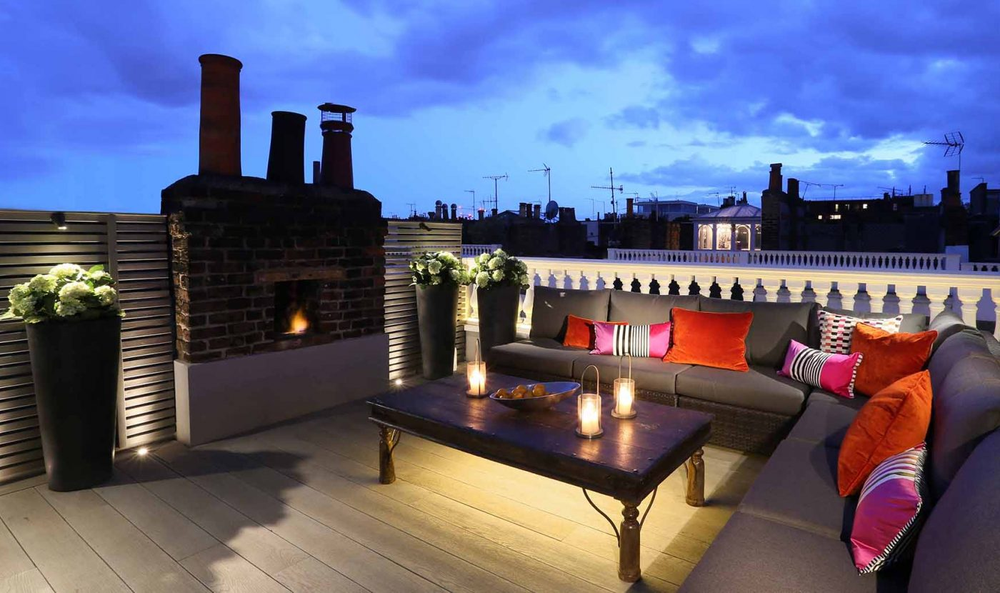rooftop terrace beautifully lit