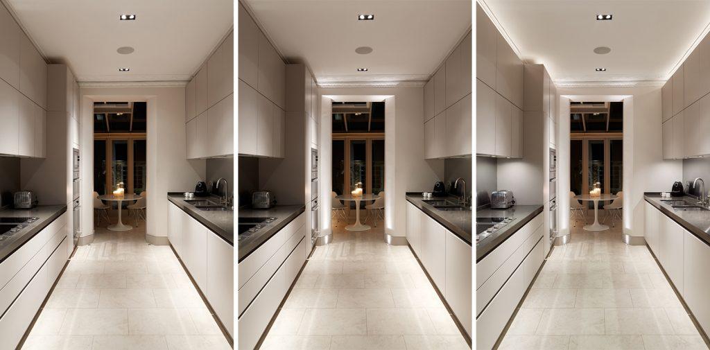 Layered lighting in galley kitchen