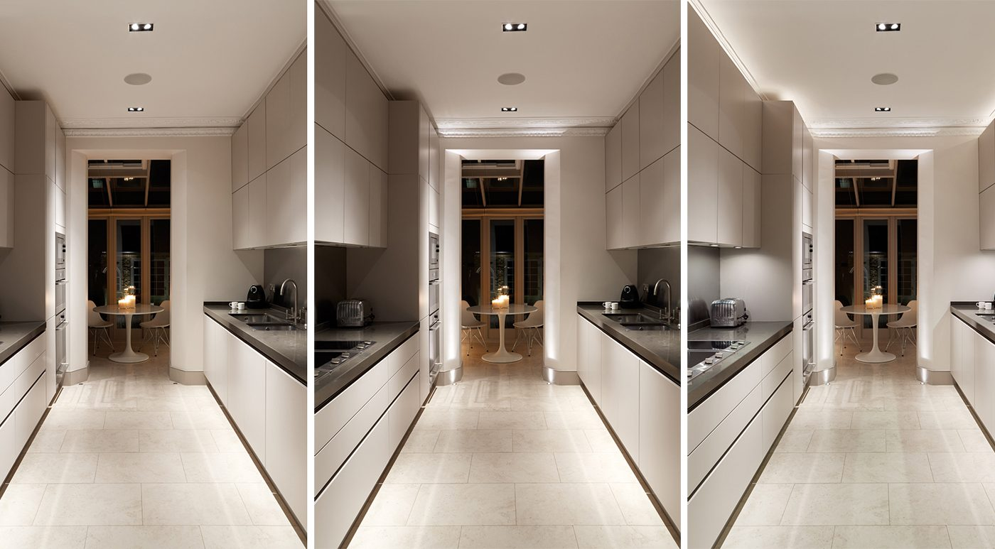 Layered lighting in galley kitchen