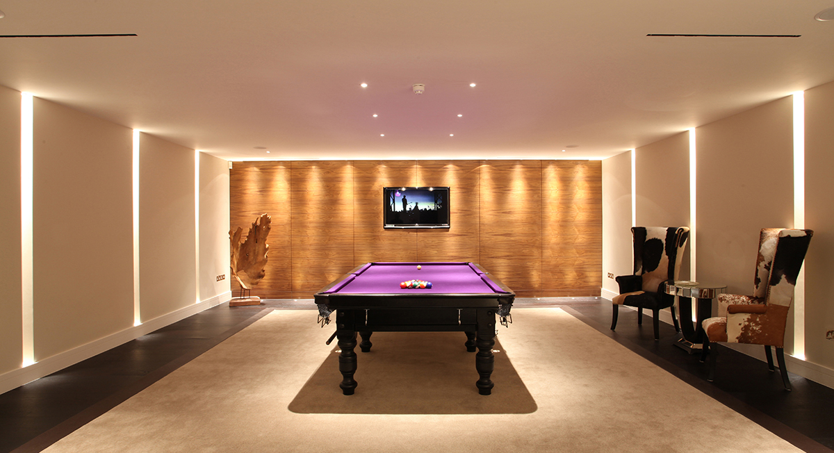 Lighting for billiard table in basement