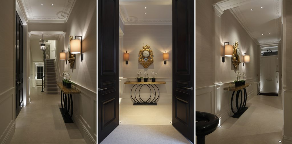 London townhouse entrance with both decorative and architectural lighting