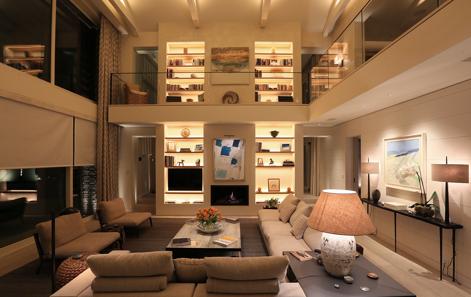 contemporary double height living room