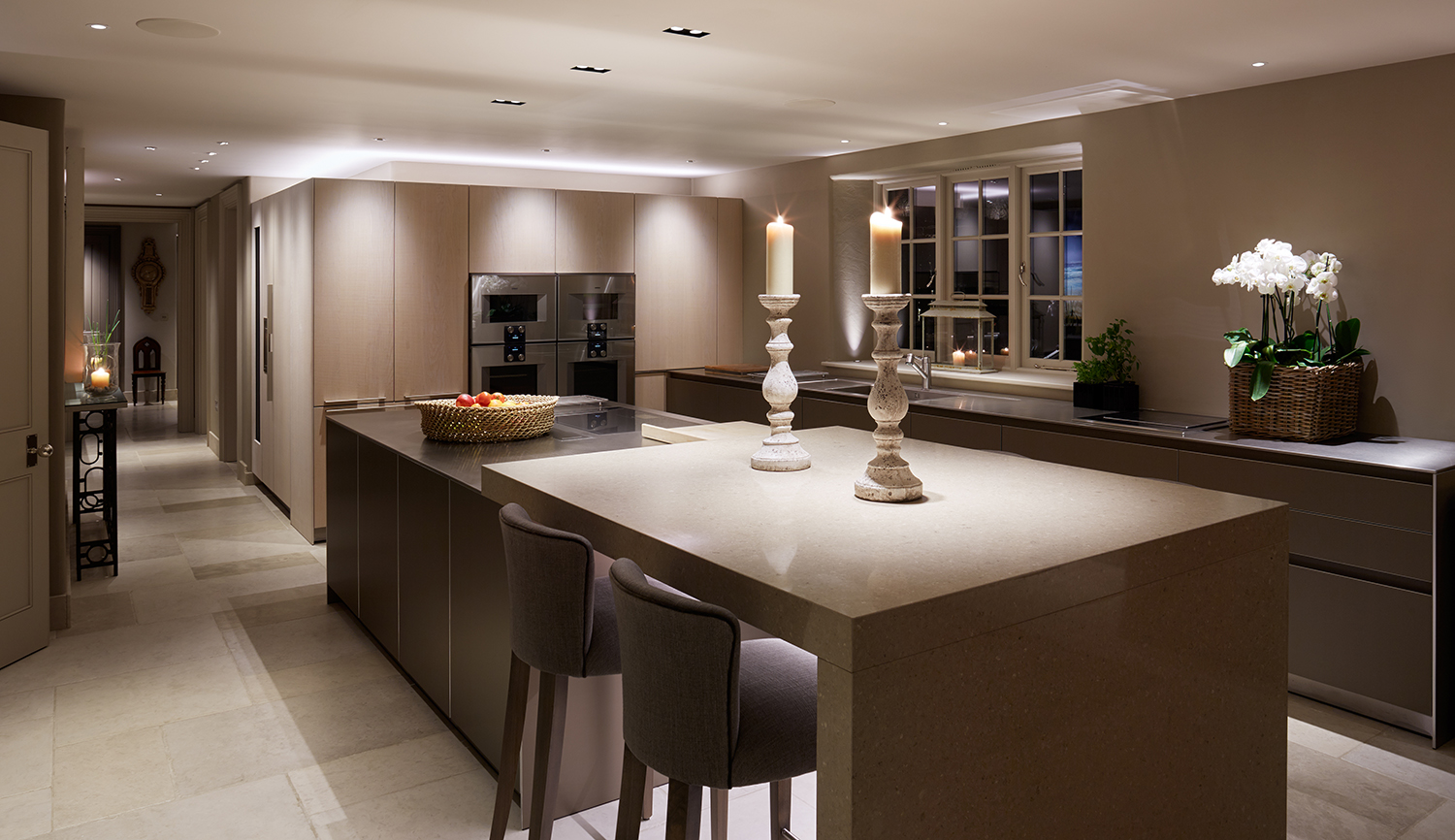 downlighting over kitchen island