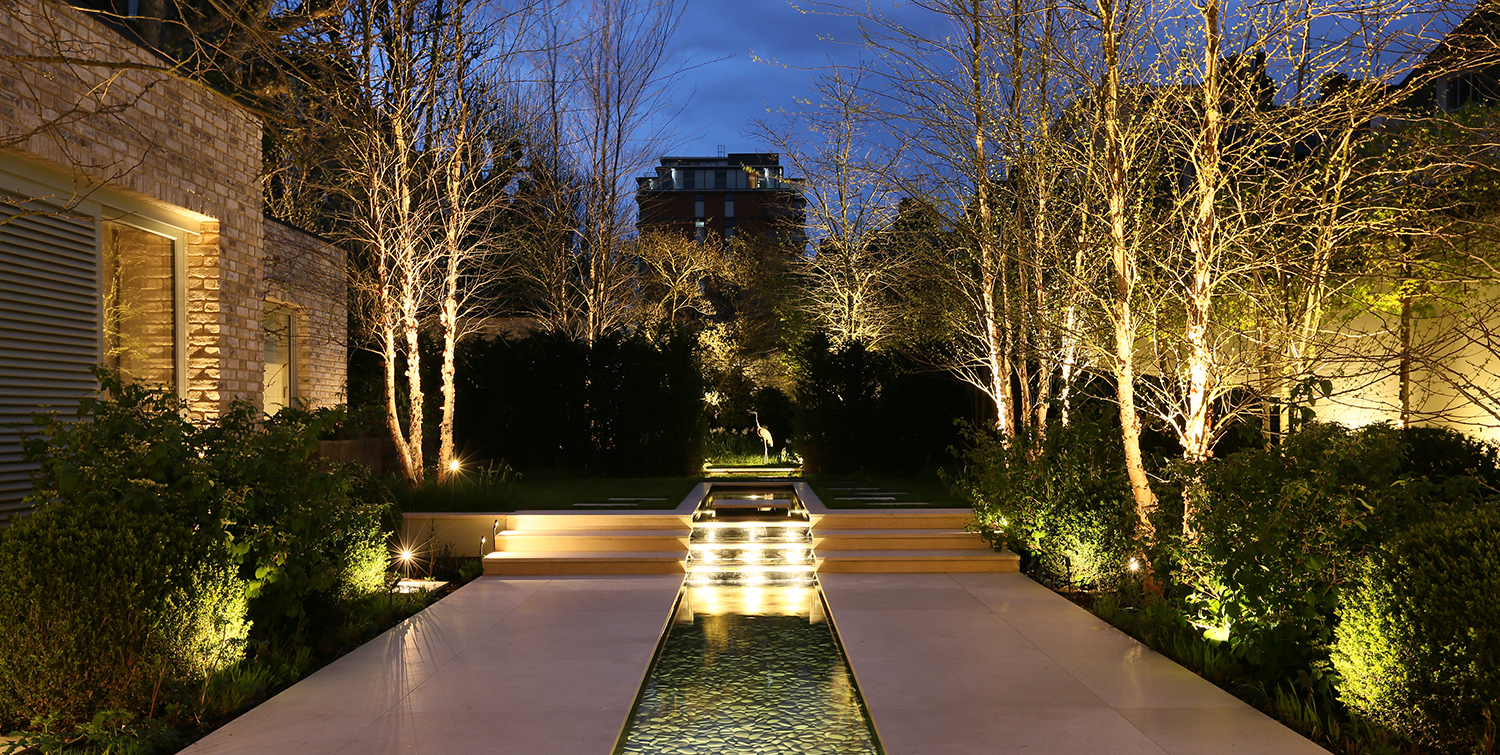 dramatic garden with water rill and sculpture
