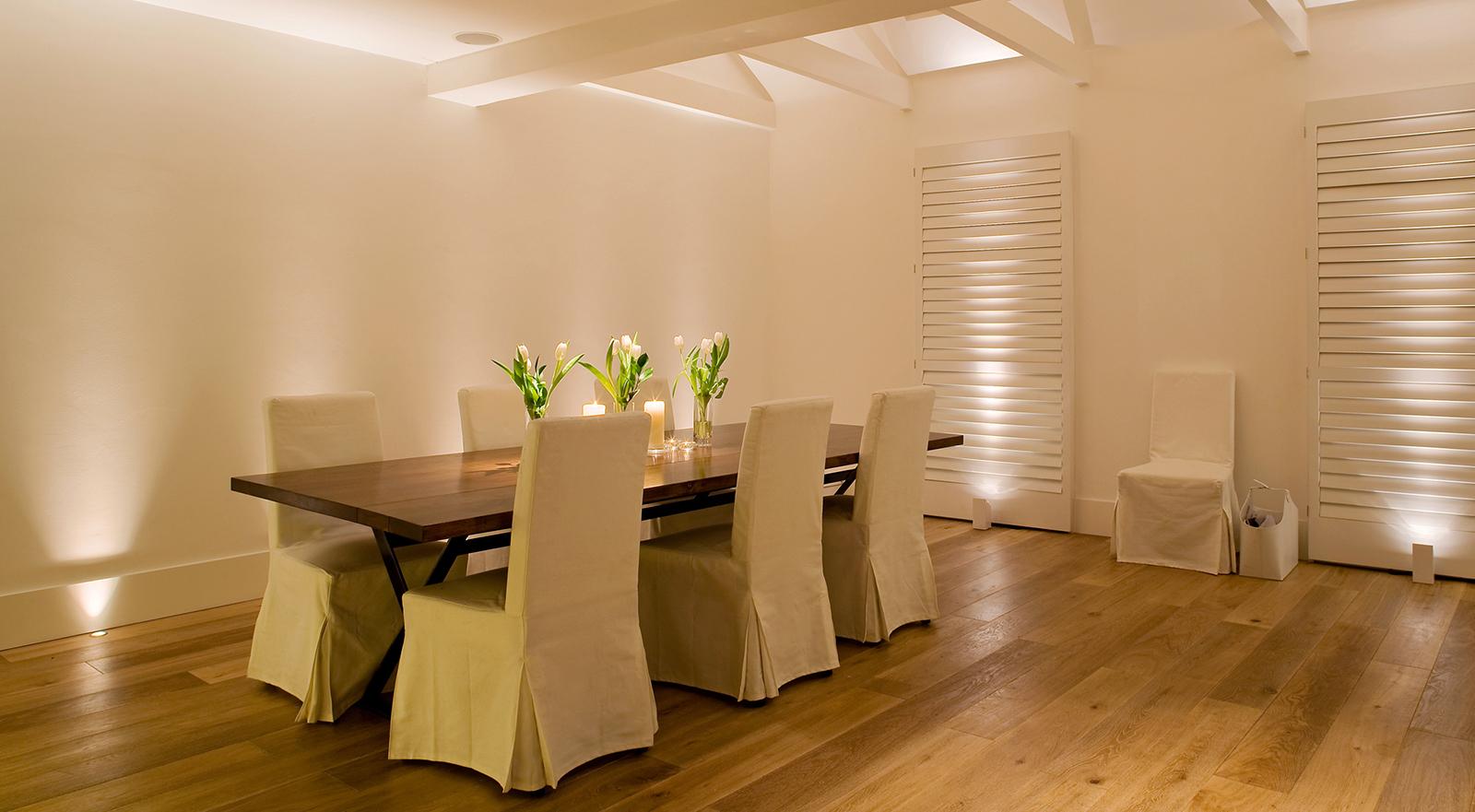 white dining room lighting