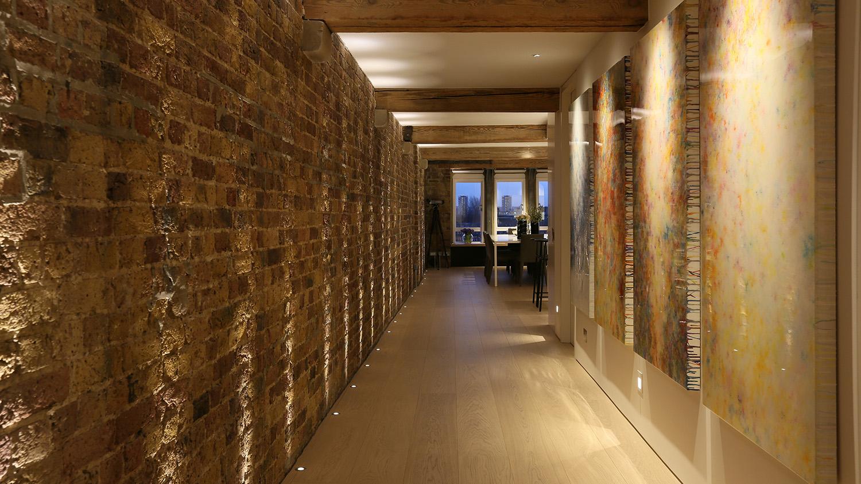 brick entrance corridor lighting