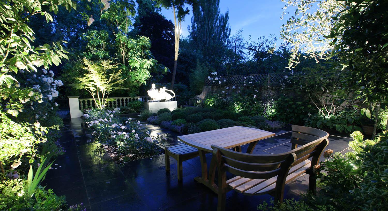 softly lit garden lighting