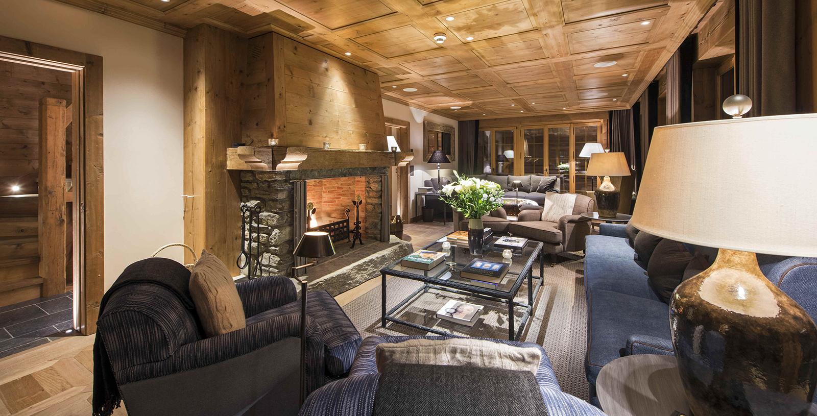 Lighting of living room in chalet