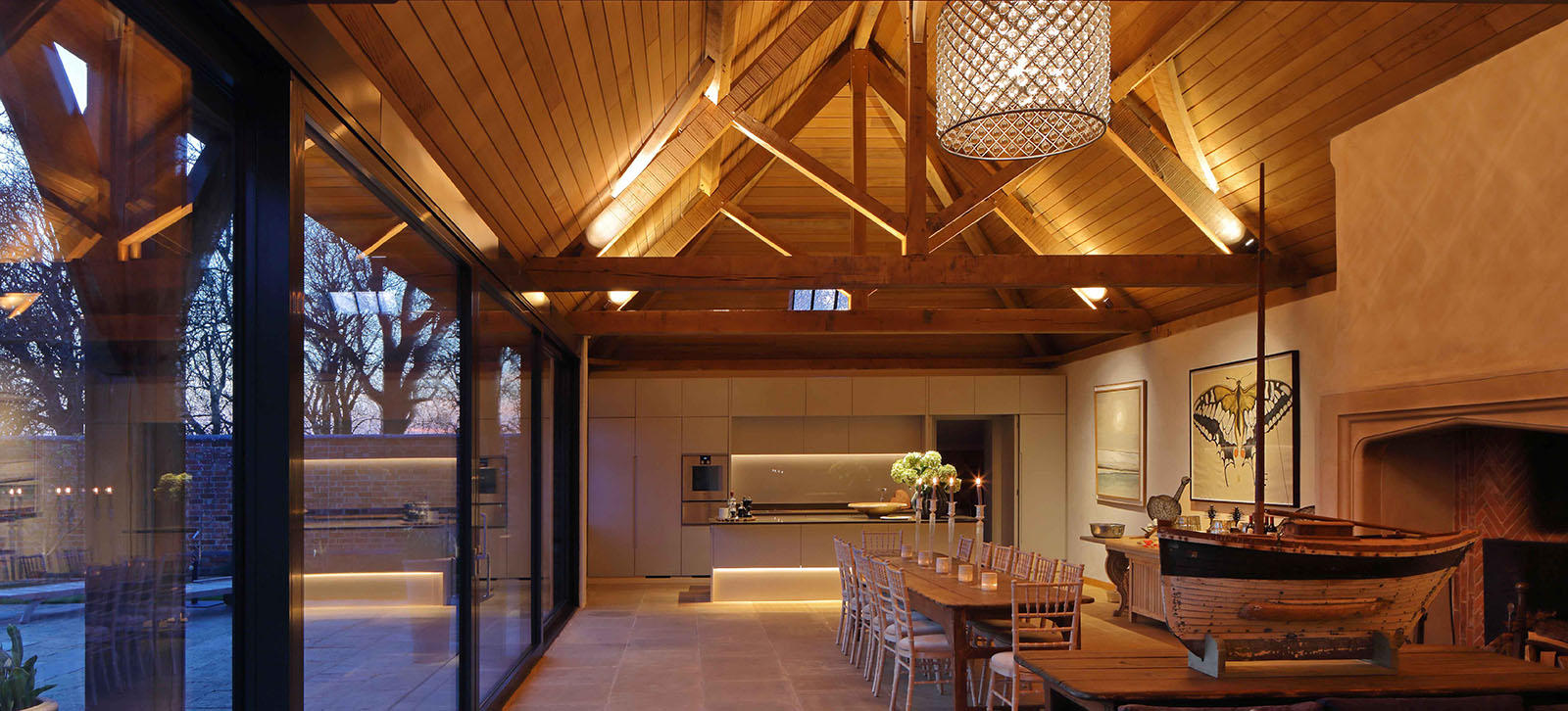 barn kitchen and living lighting