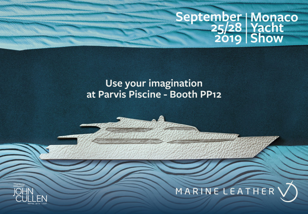 invitation to marine leather stand at Monaco yacht show 2019