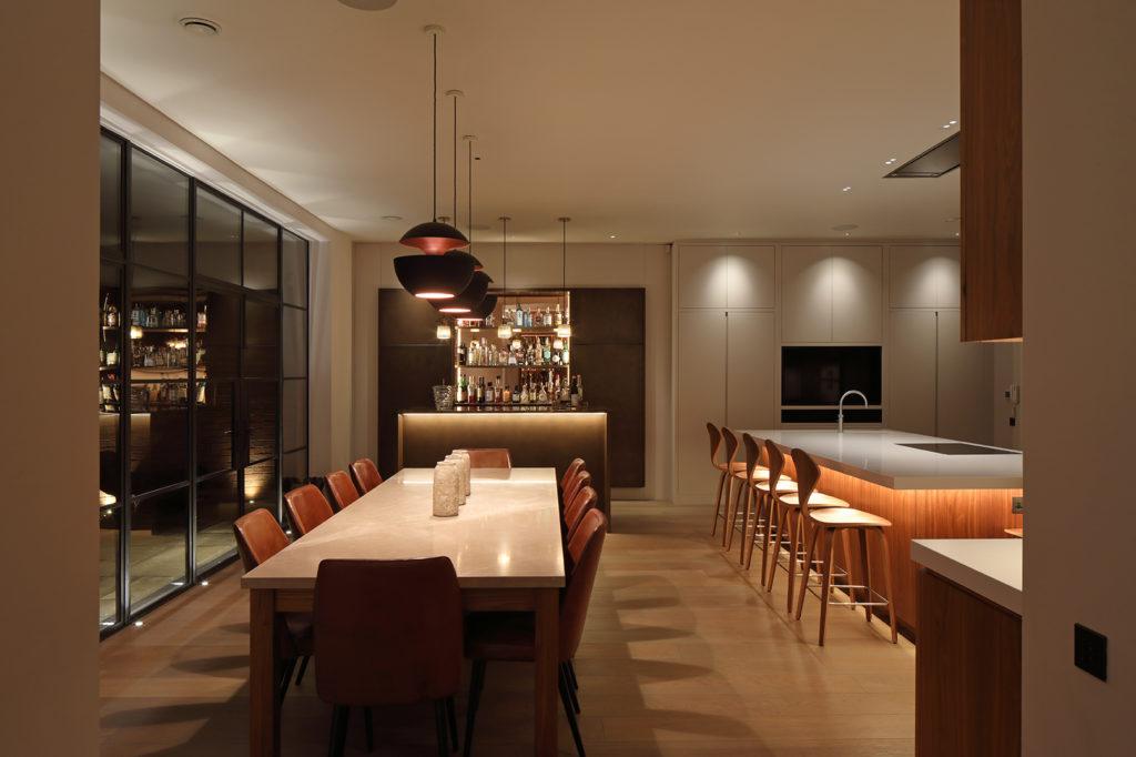 luxury lighting in open plan kitchen diner