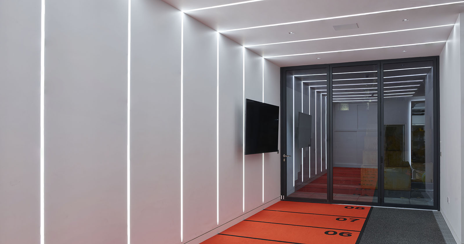 Indoor Running track with linear lighting