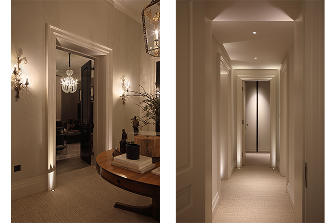 Hallway lighting to light listed property features