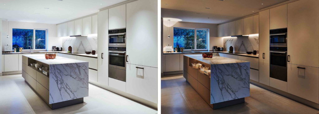 white marble kitchen with day to night lighting