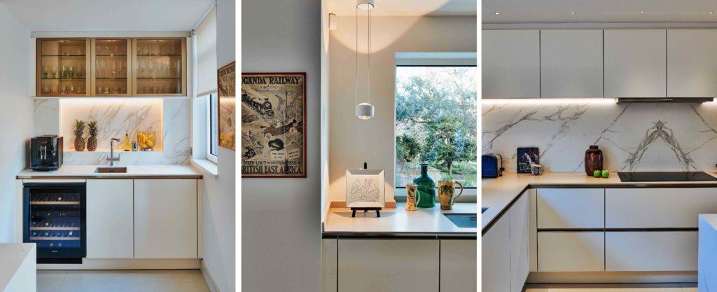 kitchen slot, splash back and decorative light details