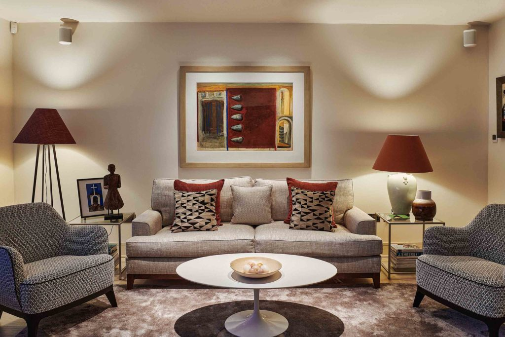 cosy seating area in open plan living room
