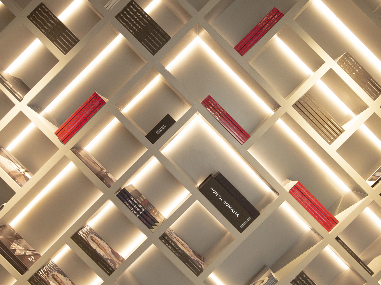 back lit criss cross shelving with back light