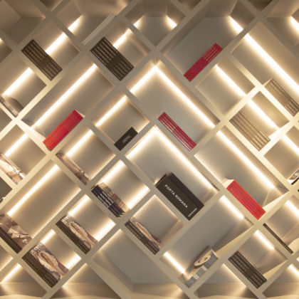 back lit criss cross shelving