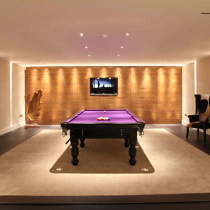 games room snooker table lighting