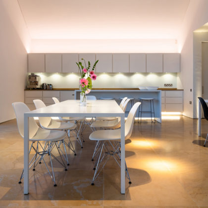 contemporary kitchen lighting with high ceiling