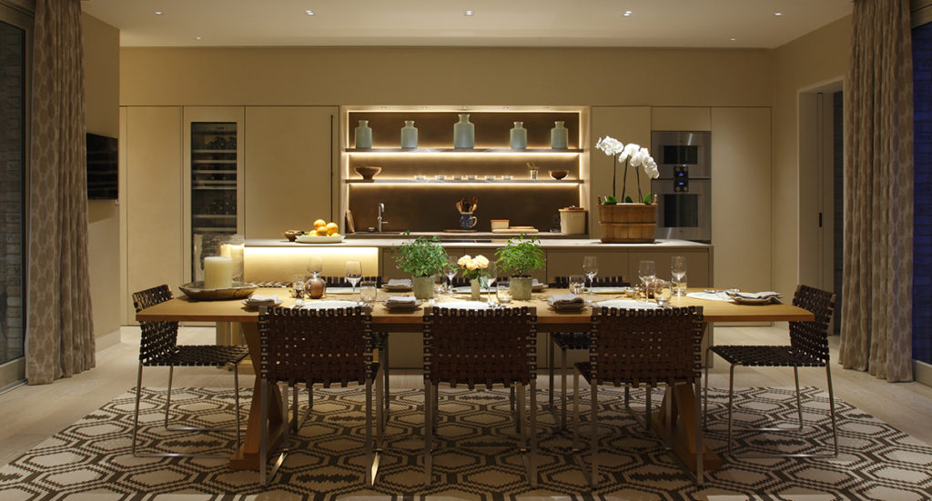 dynamic kitchen and dining room lighting for contemporary new build property