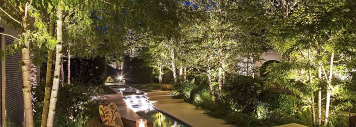 view extended into garden with creative lighting design