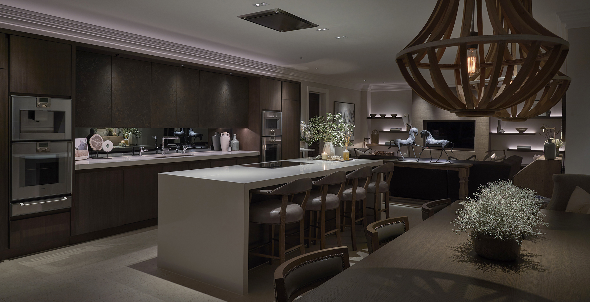 large open plan kitchen with dining and seating areas