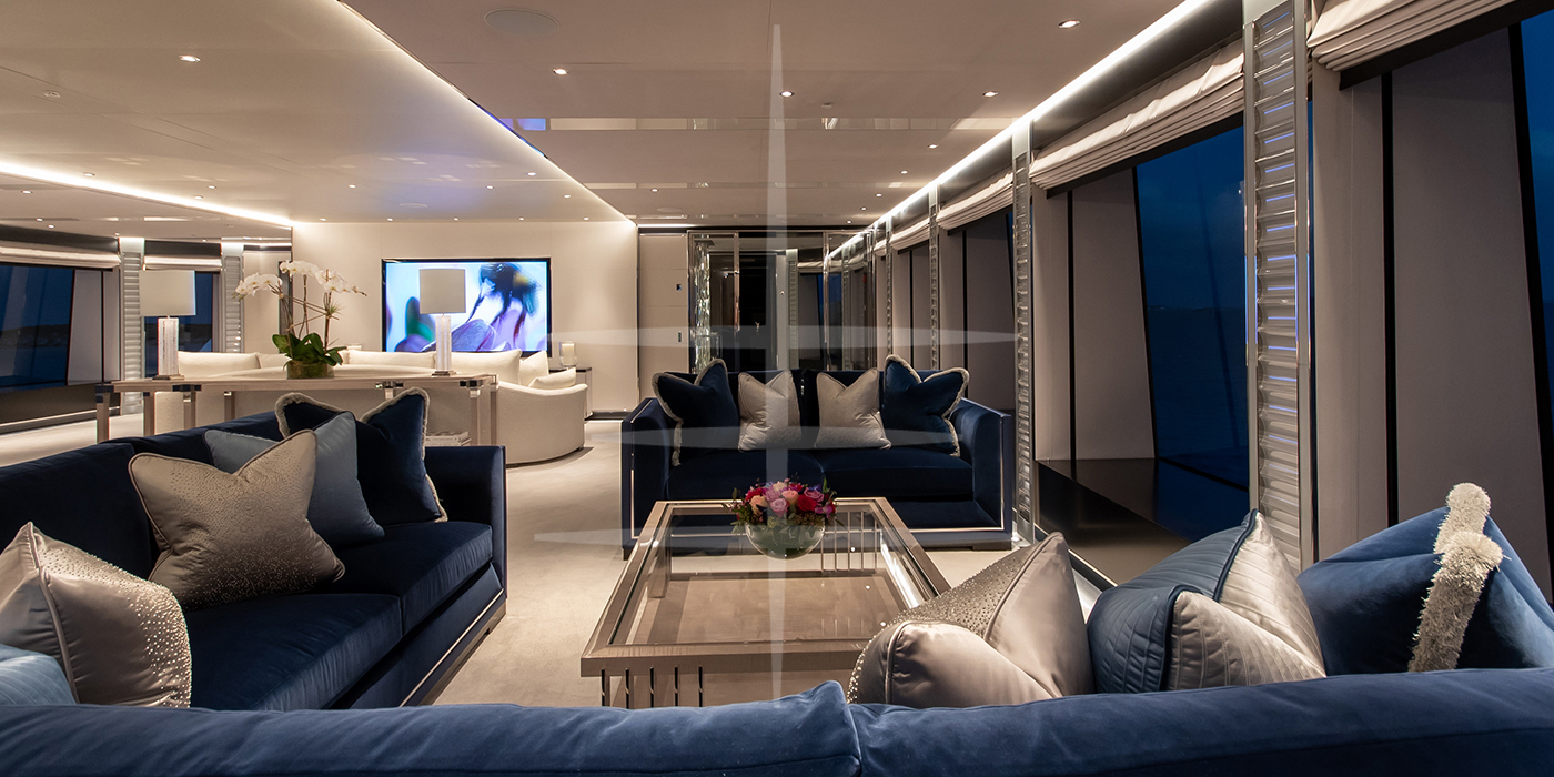 plush sky lounge of north star yacht