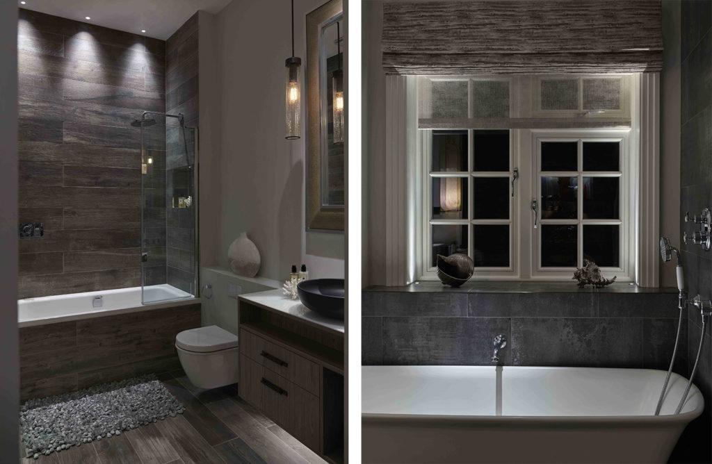 warm, relaxing bathroom lighting