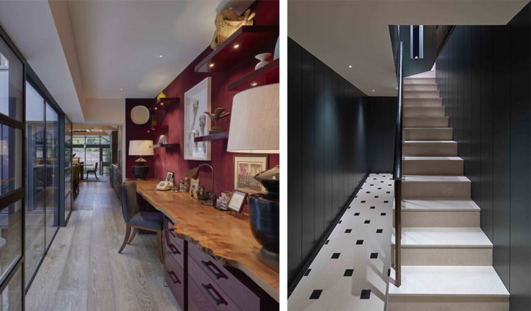 staircase to basement and home office lighting