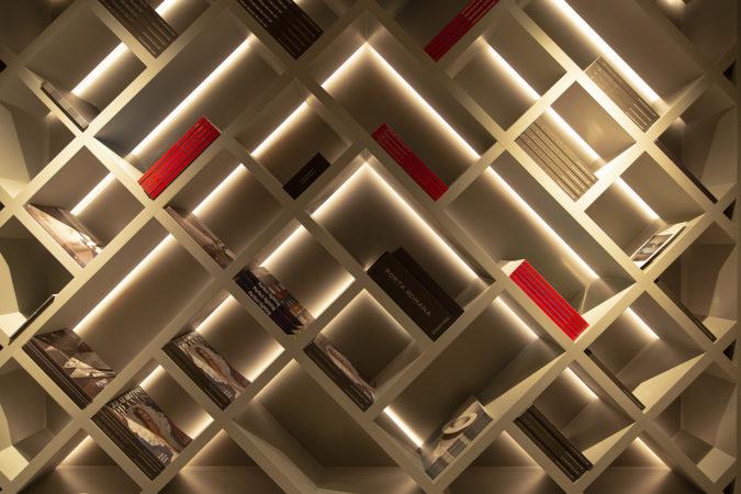 backlit shelving unit at British Design House