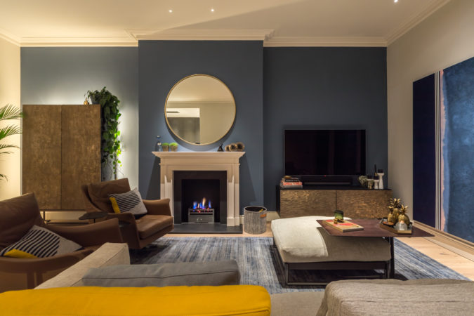 Living room with a mix of ambient, task and accent lighting