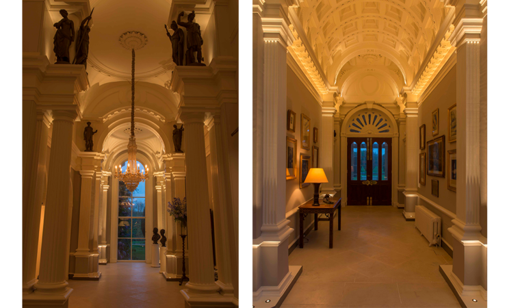Uplighting with miniature Lucca uplights in a grade listed building